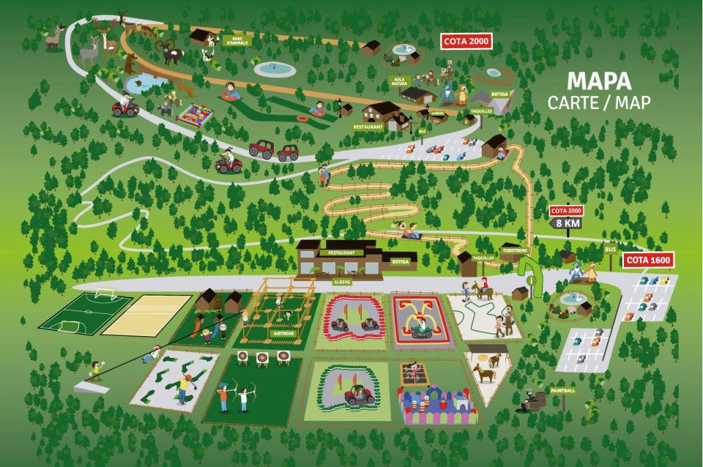 Mapa Naturlandia Andorra: Parque de aventura