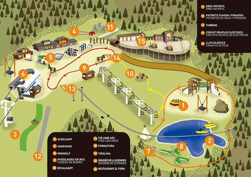 Mapa Family Park Mont Màgic Canillo Andorra