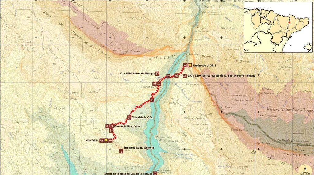 Mapa congost Mont Rebei